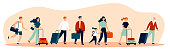 Happy tourists with suitcases walking together flat vector illustration. Group of people travelling abroad. Family with bags going from airport. Men and women during trip. Tourism and journey concept