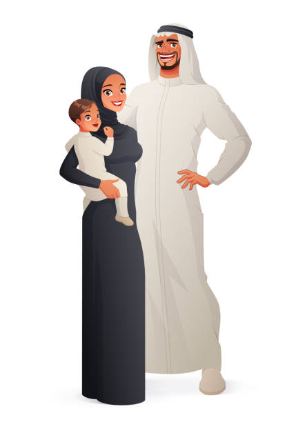 happy traditional arab family portrait. vector illustration. - arab stock illustrations