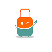 editable vector icon of a travel case with smiley face.