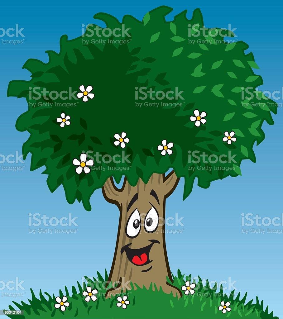 Happy Tree - Royaltyfri Antropomorfistiskt smileyansikte vektorgrafik