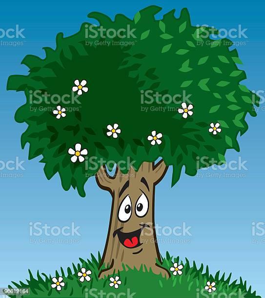 Happy Tree-vektorgrafik och fler bilder på Antropomorfistiskt smileyansikte