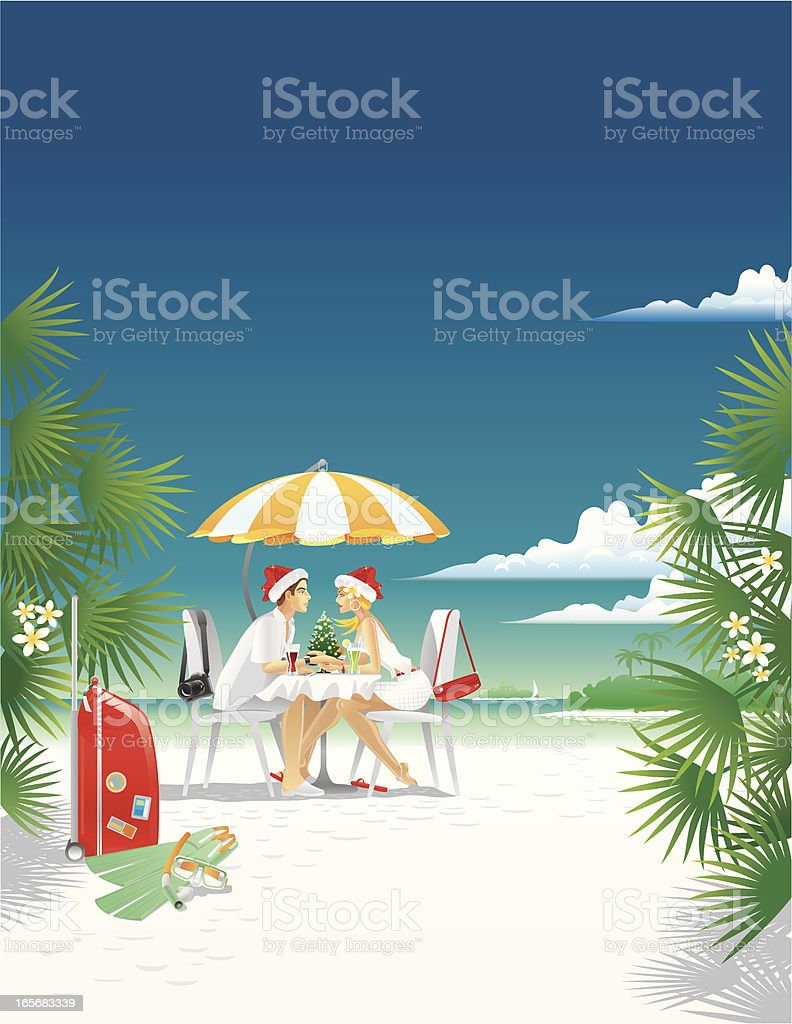 Happy Tropic Christmas vector art illustration
