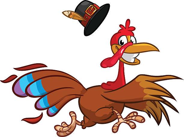 happy turkey cartoon running. vector cartoon - turcja stock illustrations