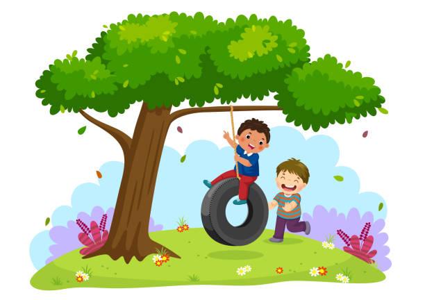stockillustraties, clipart, cartoons en iconen met gelukkig twee jongens spelen band swing onder de boom - schommelen bungelen