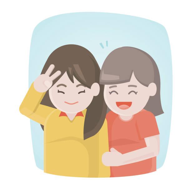 笑って幸せな二人の女の子お友達と一緒に抱っこ。ベクトル図を楽しんでいる若い女性。 - 姉妹点のイラスト素材/クリップアート素材/マンガ素材/アイコン素材