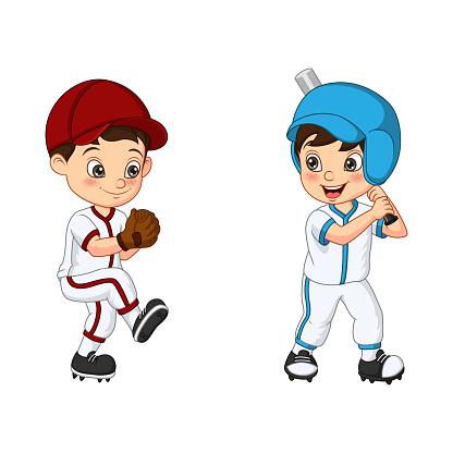 Happy two kids playing baseball