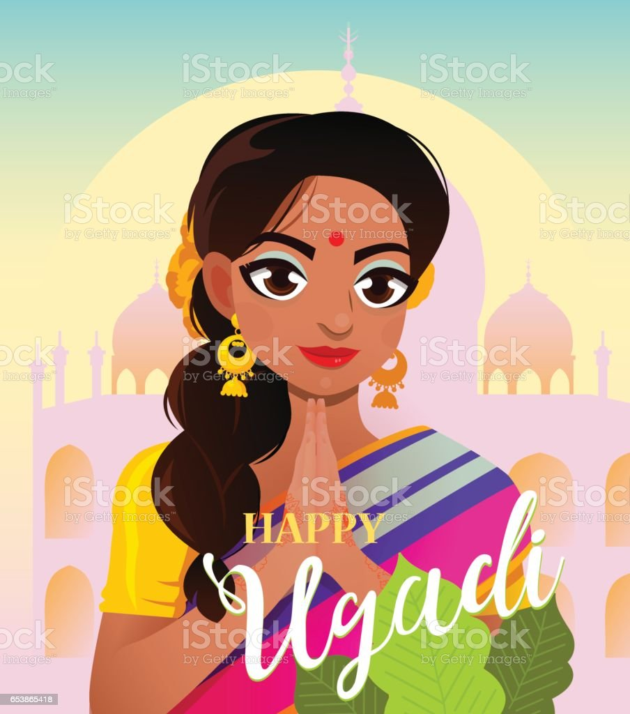 gudi padwa hindu new year card character positive indian girl in greeting