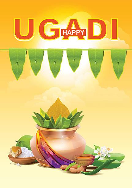 glücklich ugadi. vorlage für grußkarte für den urlaub ugadi. gold topf - padua stock-grafiken, -clipart, -cartoons und -symbole