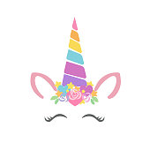 Happy unicorn face vector