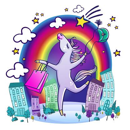 Happy unicorn with shopping