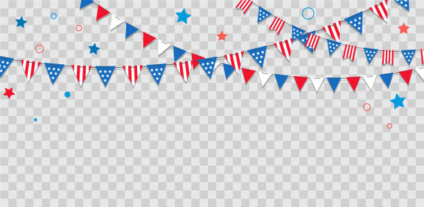 happy usa independence day 4 th july. american holiday celebration - july 4th stock illustrations