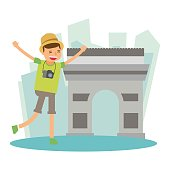 happy vacation boy traveler holiday in The Arc de Triomphe france cartoon character