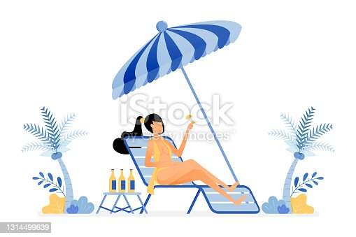 istock happy vacation illustration of sunbathing women sit on beach and drink alcoholic. enjoy holiday under a coconut tree. Vector design can be used for poster, banner, ad, website, web, mobile, marketing 1314499639
