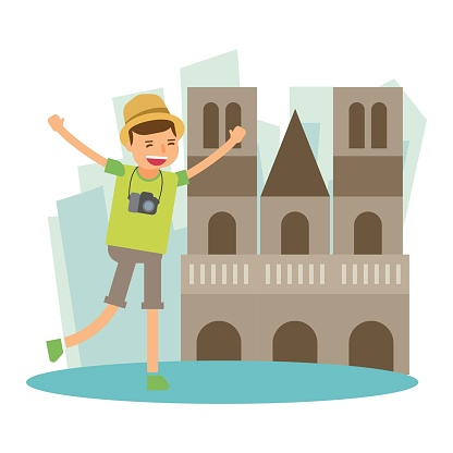happy vacation traveler holiday in notre-dame de paris france europe cartoon character
