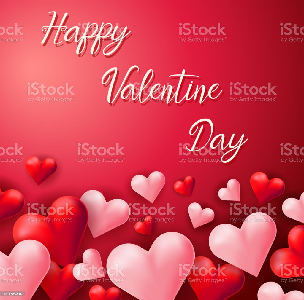 Happy Valentine Card Template With Pink And Red Hearts Stock Vector