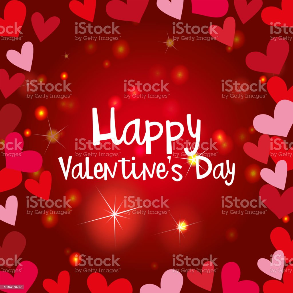 Happy Valentine Card Template With Shiny Hearts Stock Vector Art