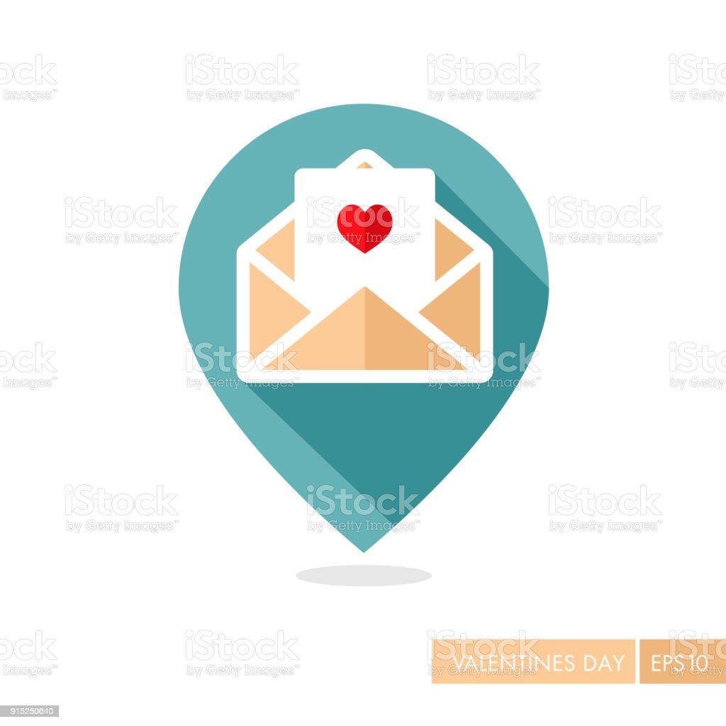 8a970040d07a Feliz dia dos namorados cartão no ícone do envelope do pin mapa ilustração  de feliz dia