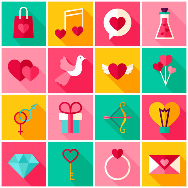 Happy Valentine Day Colorful Icons - Illustration vectorielle