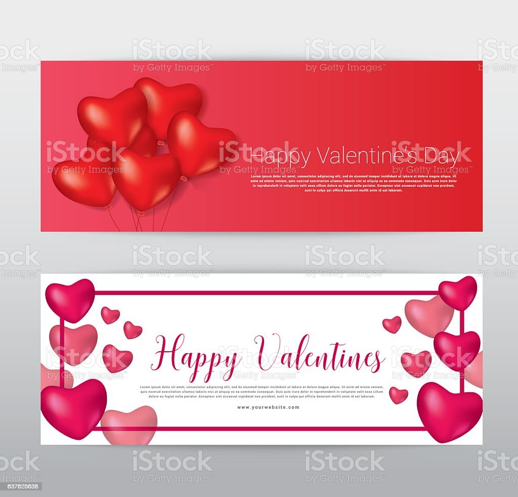 Happy Valentine Day Gift Voucher Coupon Banner Card Promotion T