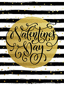 Happy Valentine day gold glittering greeting card