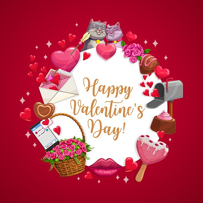 Happy Valentine day, love candy hearts, cats kiss