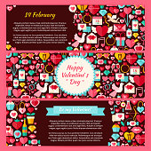 Happy Valentine Day Horizontal Banners Set. Flat Design Vector Illustration of Brand Identity for Love Holiday Promotion. Colorful Pattern for Advertising.