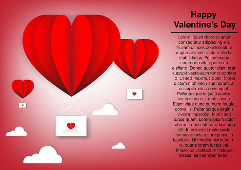 happy valentine day with heart baloon love vector