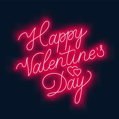 Happy Valentine s day neon lettering on dark background.