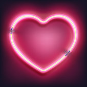 Neon heart sign on dark background. Happy Valentine s Day template, greeting card, banner. EPS 10 vector file