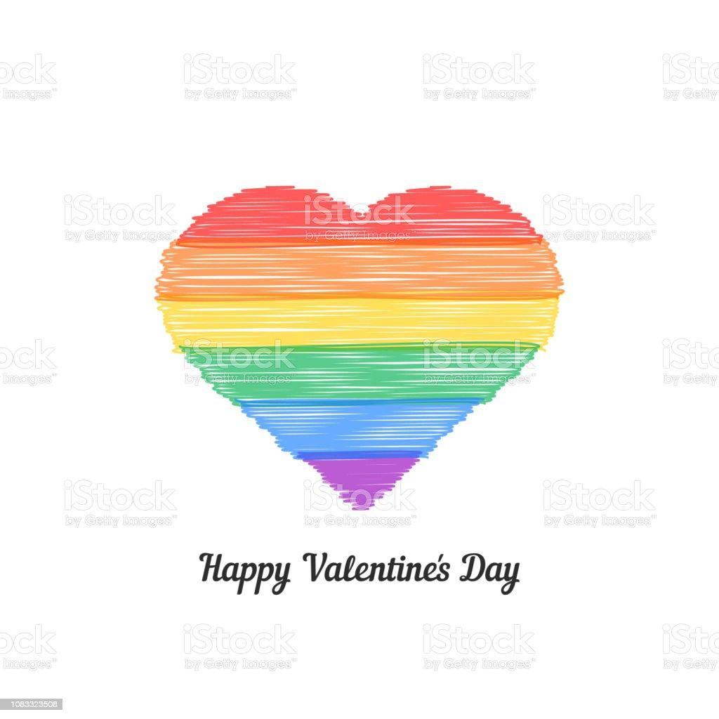 Heureuse Saint Valentin S Avec Coeur Couleur Dessin à Main