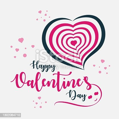 Happy Valentine's Day, 14 February, love and heart illustration vector