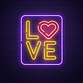 Happy Valentine's day. 3d neon sign. Realistic neon sign. Love day banner,  , emblem and label. Light banner.