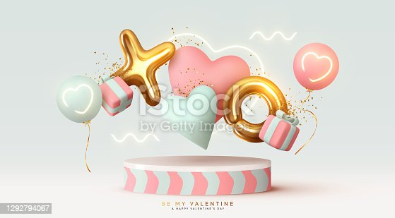 istock Happy Valentine's Day background. Realistic 3d stage podium, round studio, festive decorative objects, heart shaped balloons, XO symbol, falling gift box, glitter gold confetti. Holiday banner, poster 1292794067