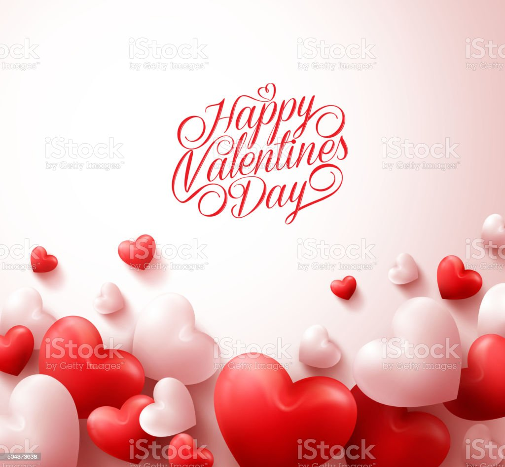 Happy Valentines Day Background with 3D Realistic Red Hearts vector art illustration