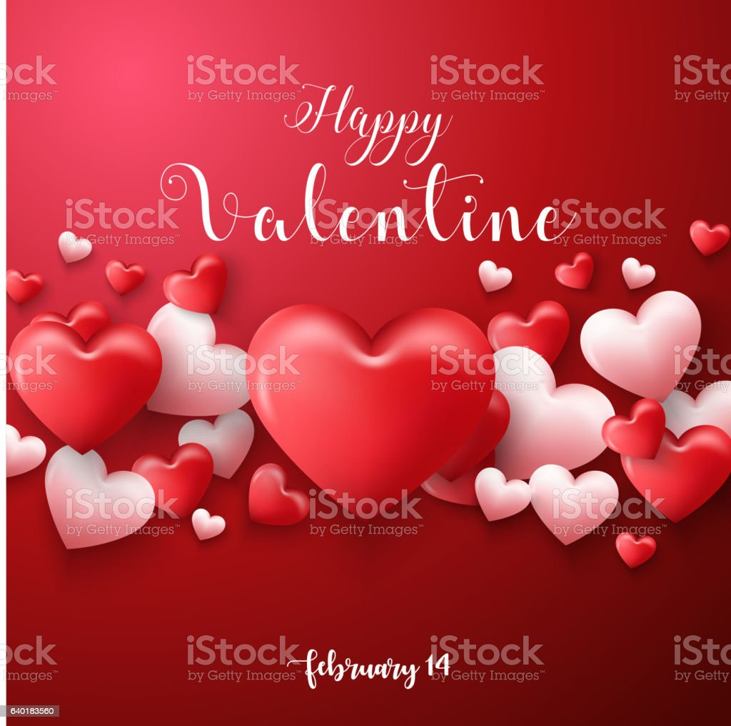 Happy valentines day background with hearts balloon in red background vector art illustration