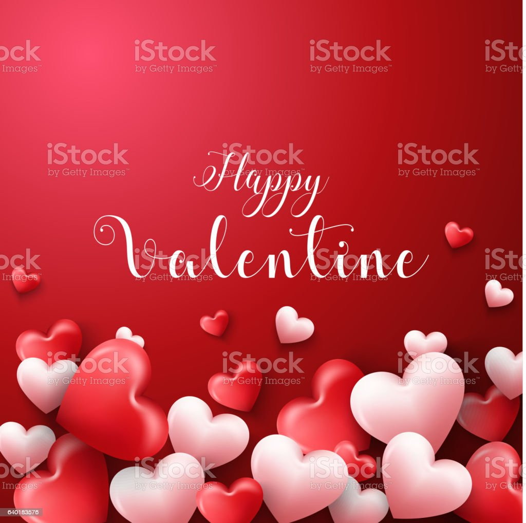 happy valentines day background with hearts balloon in red