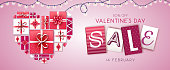 Happy Valentine`s day background with love hearts and gift boxes. Valentine`s day sale poster