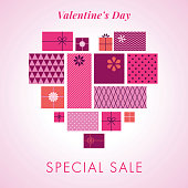 Happy Valentines Day background with love hearts and gift boxes. Valentine`s day sale template. Stock illustration