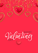 Happy Valentine's Day. Background with realistic metallic gold and pink hearts hanging on ribbon, falling glitter confetti. Greeting card, gift poster, holiday banner.