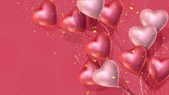 Happy Valentines Day banner, 3d red and pink heart balloons, golden confetti
