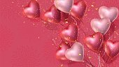 Happy Valentines Day banner with 3d red and pink heart-shaped helium balloons, golden confetti. Vector advertising background for February 14, wedding, engagement, anniversary, birthday Space for text