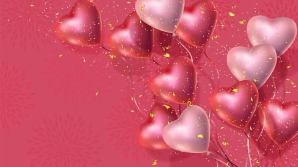 happy valentines day banner, 3d czerwone i różowe balony serca, złote konfetti - kartka na walentynki stock illustrations