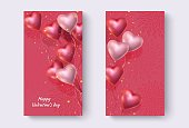Festive background with red and pink helium balloons in shape of heart and golden glitter. Vertical design Valentin's day, birthday, anniversary for banners, smartphones. Space for text