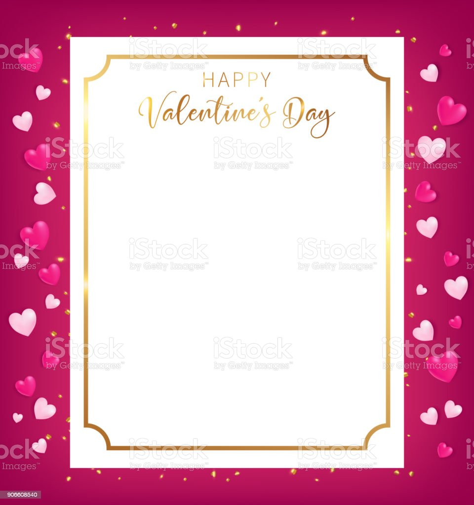 Happy Valentine's Day banner conception as top view position