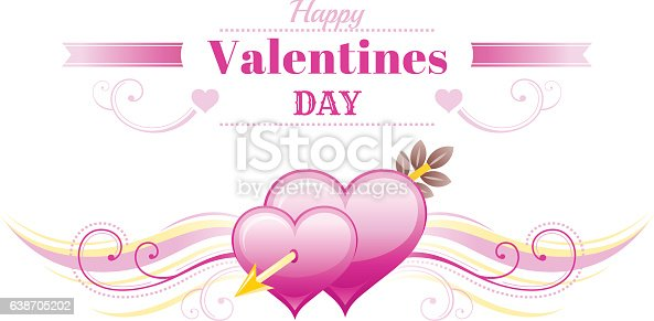 Happy Valentines Day Banner Heart Romantic Love Text Vector