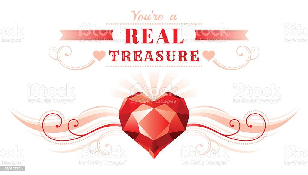 Happy Valentines day banner heart. Romantic love text vector illustration.
