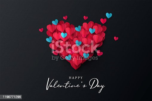 istock Happy Valentine's Day banner. Holiday background design with big heart made of pink, red and blue Origami Hearts on black fabric background 1196771295