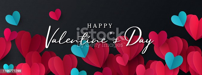 Happy Valentine's Day banner. Holiday background design with border frame made of pink, red and blue Origami Hearts on black fabric background