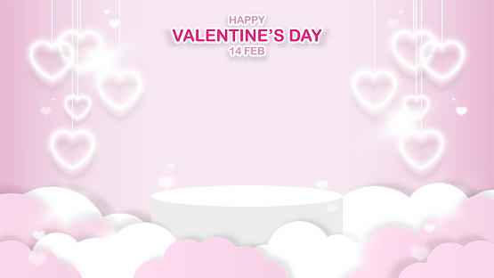 Happy Valentine's day banner. White stage podium for your product, decor with clouds and heart shape hanging lights isolated on pink background. Symbol of love. Space for graphic. Vector illustration.