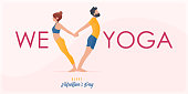 Happy Valentine's day  banner with couple yoga poses. Year of good health. Landing page design templates for Valentine's day decoration in partner yoga concept. Vector illustration concepts for websites